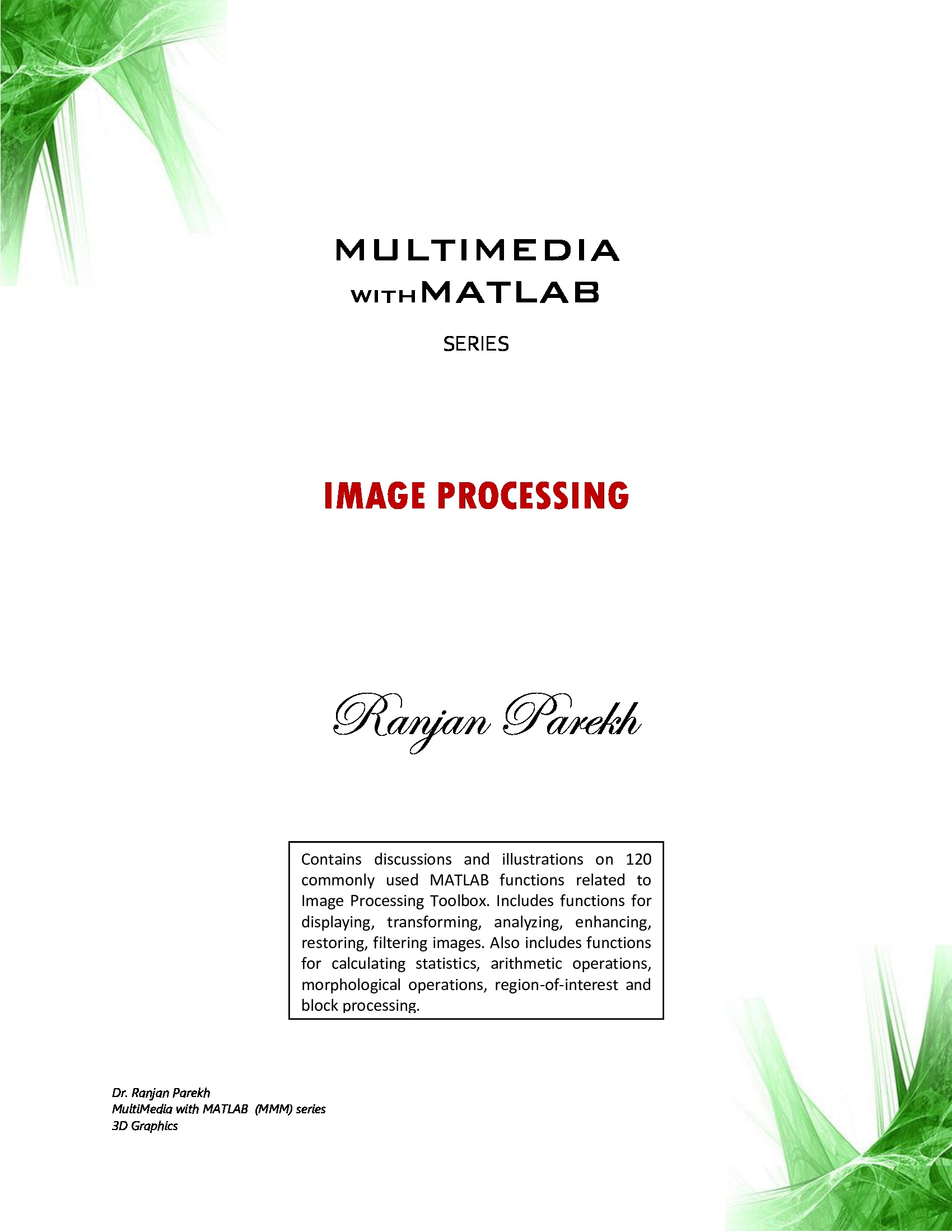 Multimedia with MATLAB series : Image Processing (eBook