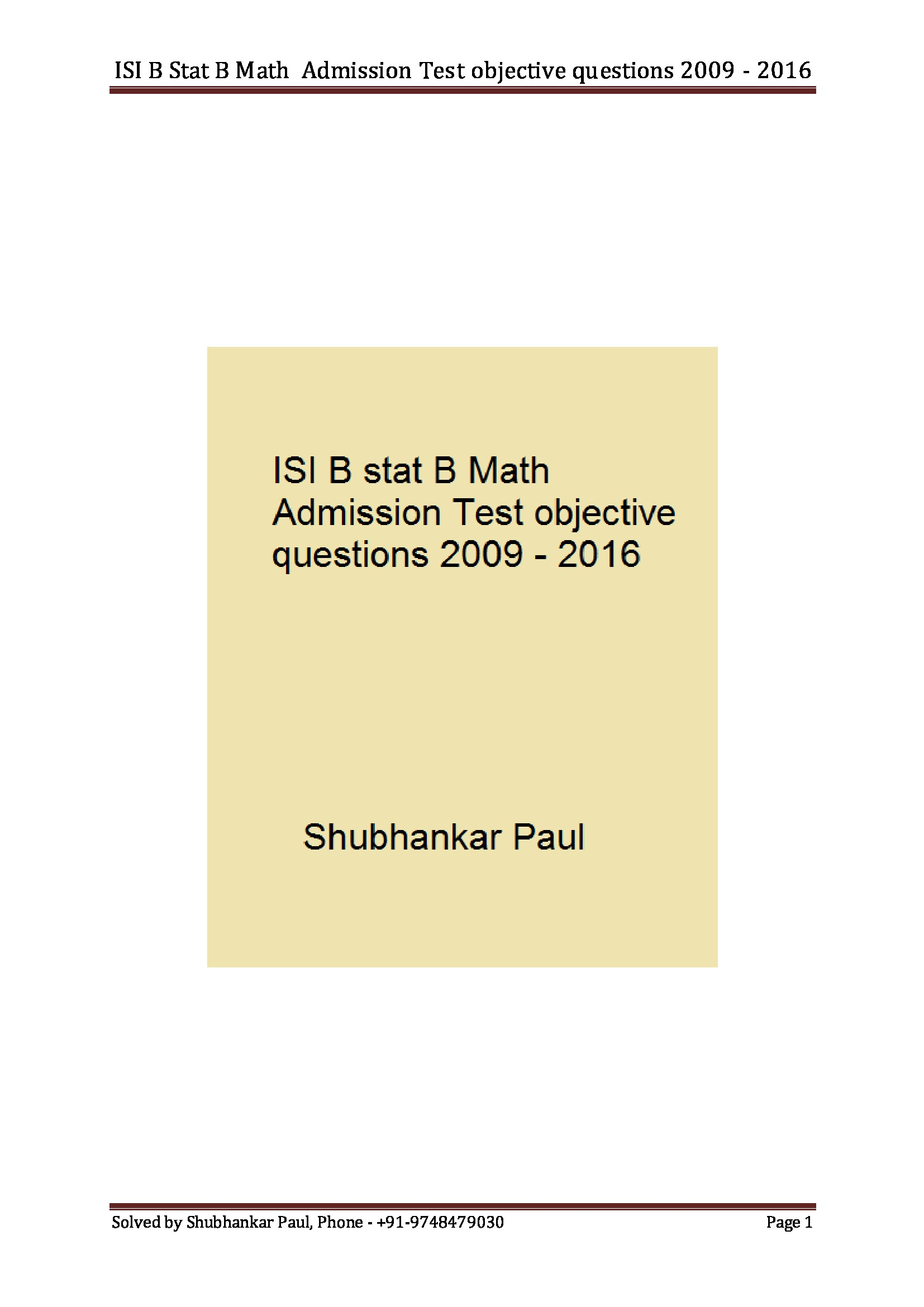 ISI B Stat B Math Admission Test objective questions 2009
