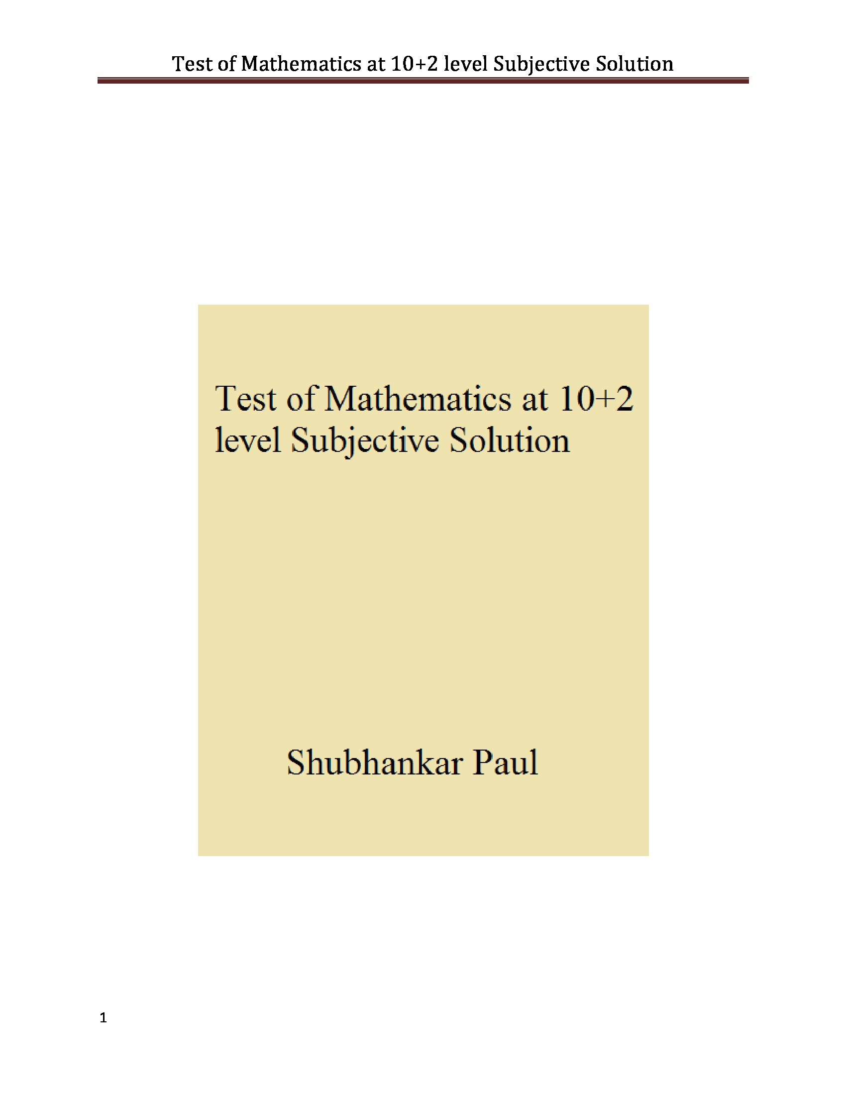Test of Mathematics at 10+2 level Subjective Solution (eBook