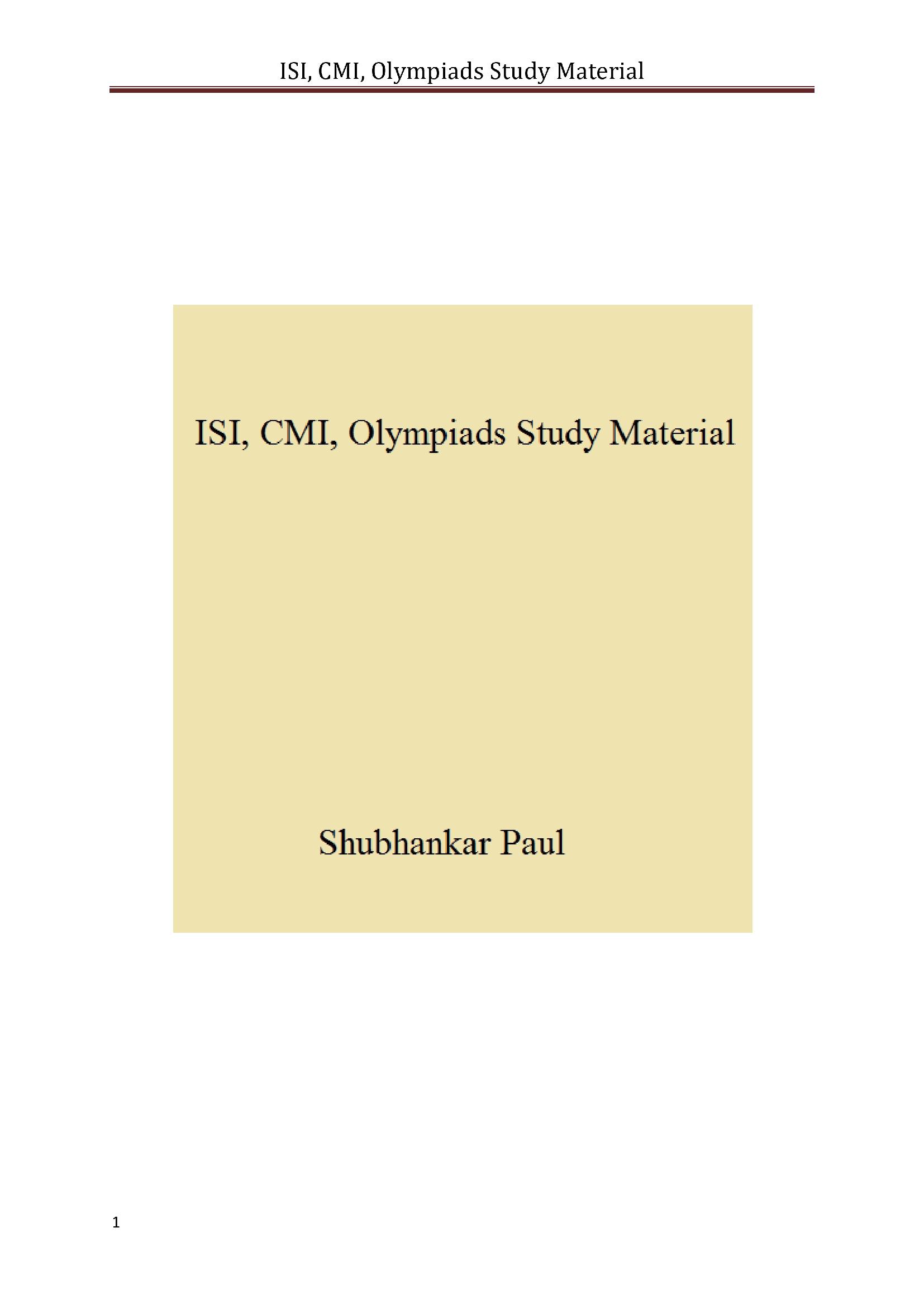 ISI, CMI, Olympiads Study Material (eBook) eBook | Pothi com