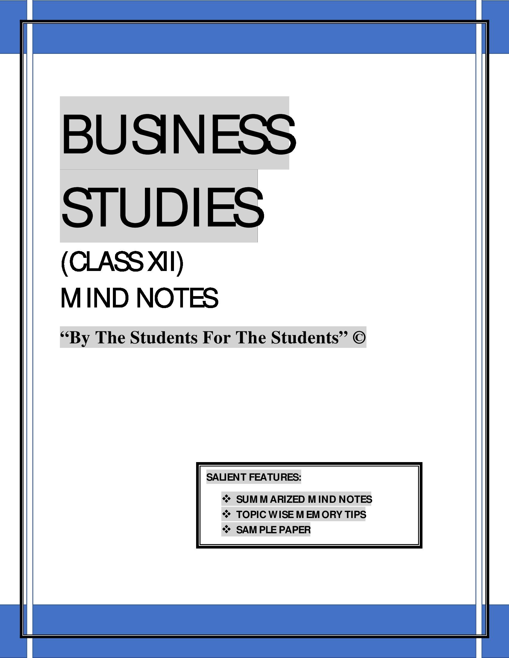 BUSINESS STUDIES CLASS XII (eBook) eBook | Pothi com