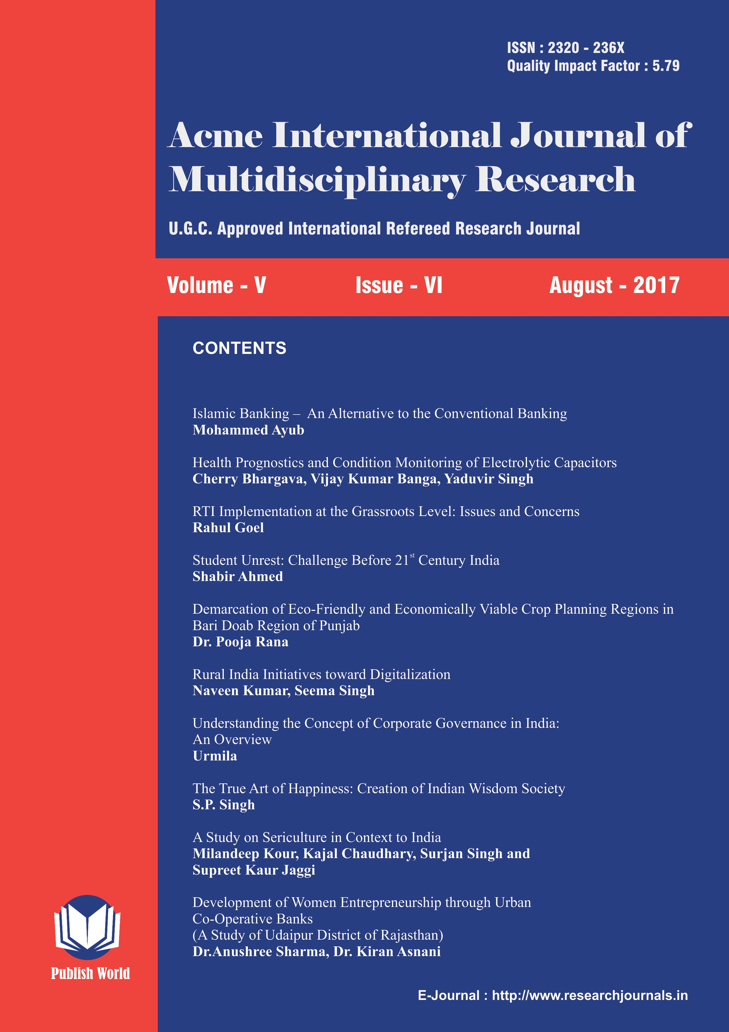 Acme International Journal of Multidisciplinary Research : August