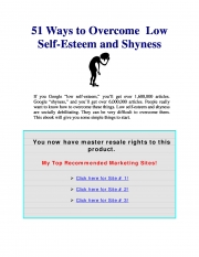 51 ways to overcome Low Self-Esteem and Shyness (eBook)