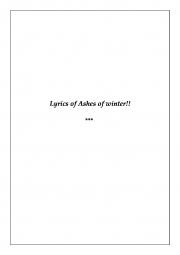 Lyrics of Ashes of Winter (eBook)