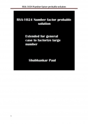 RSA-1024 Number factor probable solution (eBook)