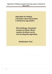 Algorithm for finding remainder when big number is divided by big number (eBook)