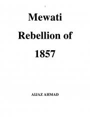 Mewati Rebellion of 1857 (eBook)