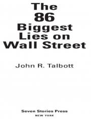 The 86 Biggest Lies on Wall Street (eBook)