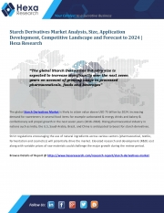 Starch Derivatives Market Size, Industry Outlook and Forecast, 2016 to 2024 (eBook)