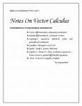 Notes On Vector Calculus