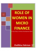 ROLE OF WOMEN IN MICRO FINANCE