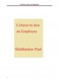 Criteria to hire an Employee (eBook)