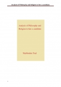 Analysis of Philosophy and Religion to hire a candidate (eBook)