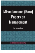 Miscellaneous (Rare) Papers on Management